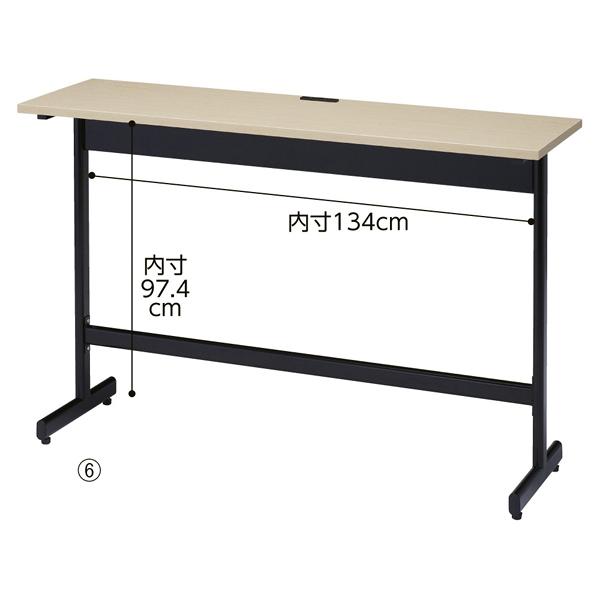 コンセント付きハイテーブルW150cm古木柄 【厨房館】