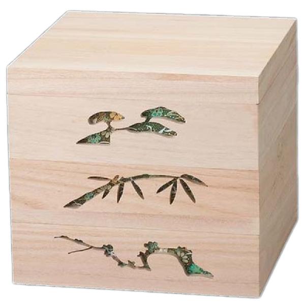 【 お重 重箱 おせち 正月 】越前漆器最高級木製重(桐製) 木製松竹梅透かし白木重 6.5寸 緑 3段 【厨房館】