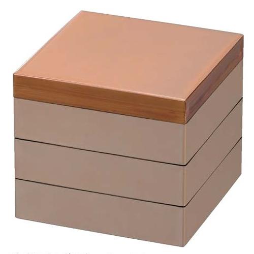【 お重 重箱 おせち 正月 】樹脂製重 宝徳高盛重 べっ甲 7.0寸 3段 【厨房館】