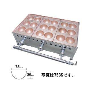 【 業務用 】IKK 業務用 爆弾焼 6穴/銅板 753S【 メーカー直送/代引不可 】