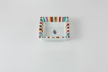 和食器 虹十草なす 角鉢 35K080-16 まごころ第35集