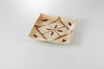 【まとめ買い10個セット品】和食器 紅菱紋 正角皿 35A142-03 まごころ第35集 【キャンセル/返品不可】【厨房館】