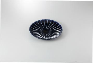 【まとめ買い10個セット品】和食器 茄子紺ブルー 8寸皿 35K210-02 まごころ第35集 【キャンセル/返品不可】【厨房館】