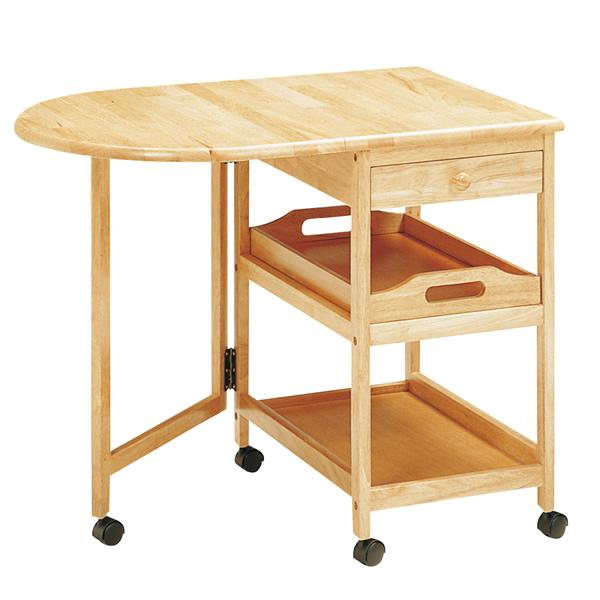 木製テーブル付きワゴン〔ナチュラル〕 KW-415〔NA〕【 キッチンワゴン キッチン収納 キッチンワゴン キャスター付 】【 メーカー直送/後払い決済不可 】