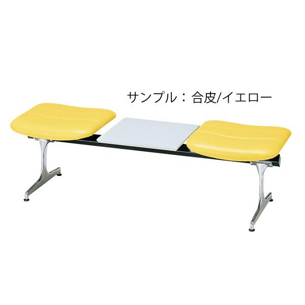 ロビーチェア〔2人用コンビ〕〔イエロー〕 RD-42C〔合成皮革/イエロー〕【 椅子 洋風 オフィスチェア ベンチ 】【受注生産品】【 メーカー直送/後払い決済不可 】