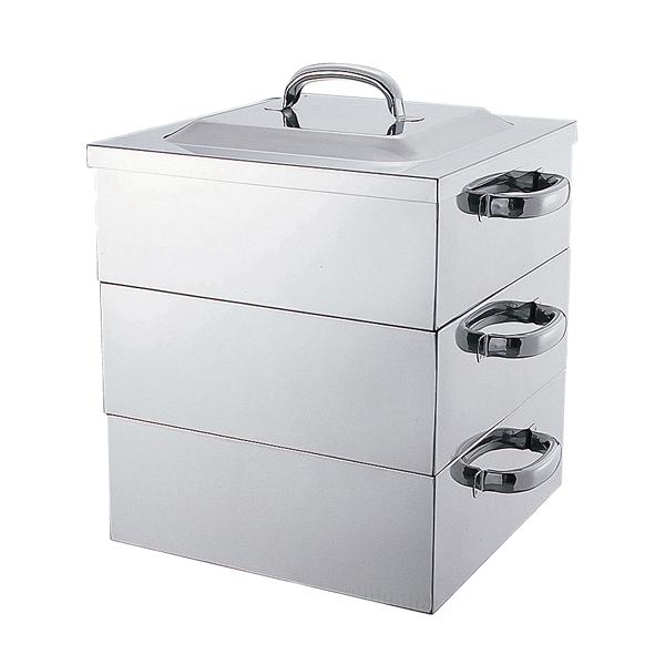 電磁対応角蒸器 42cm 2段 【厨房館】