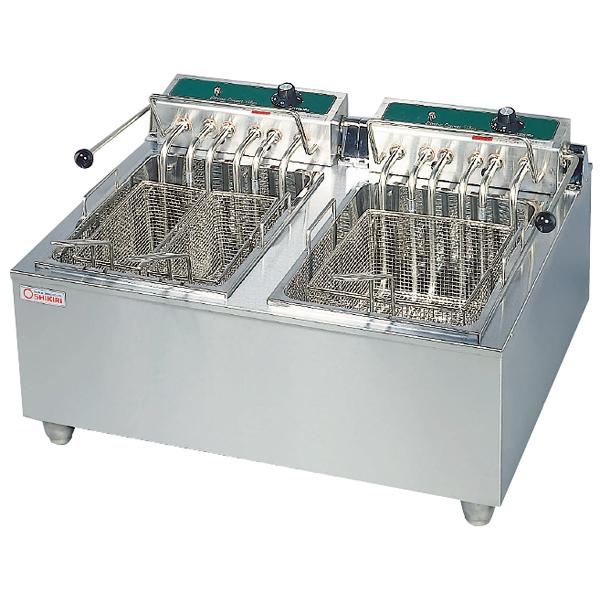 卓上電気フライヤー スイング式 二槽式 OFT-600W 【厨房館】