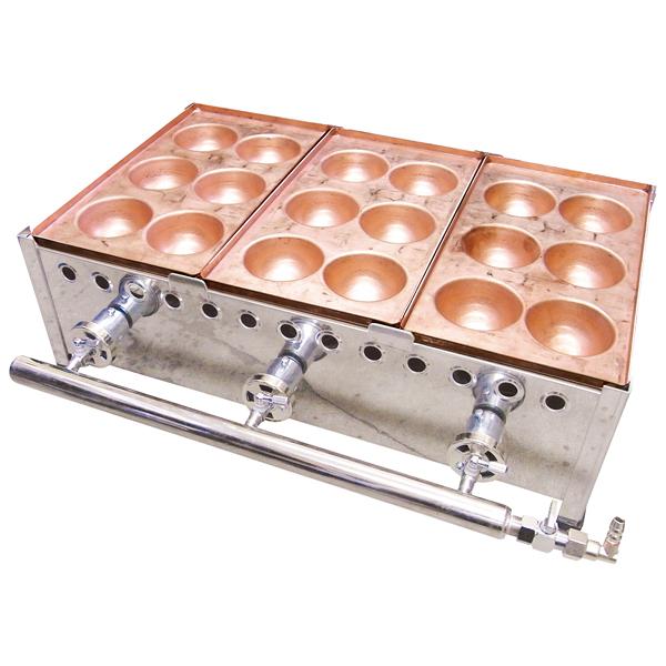 ガス式 爆弾焼(6穴/銅板) 752S(2連) 13A 【厨房館】