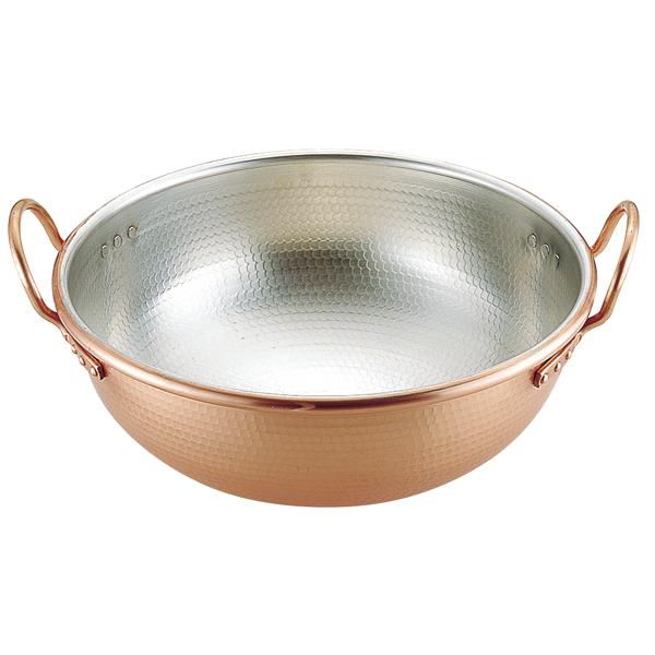 銅 打出 さわり鍋 (手付・スズメッキ付) 42cm 【厨房館】