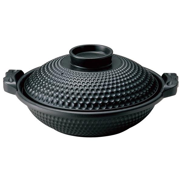 アルミ よろず鍋 黒 深(蓋付) M11-061 31cm 【厨房館】