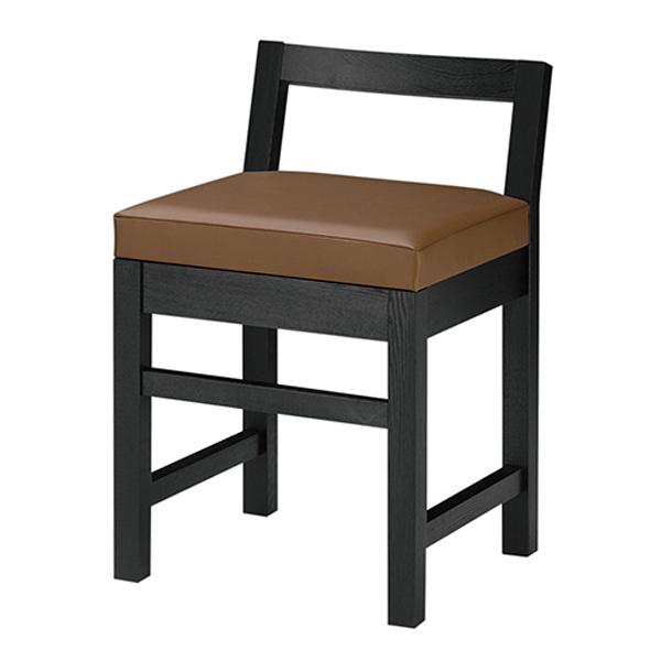 和風椅子 隼人B ブラック 1384-1690(黒レザー) 【厨房館】