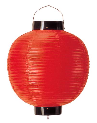 無地ビニール提灯 丸型 尺八丸 赤 【厨房館】