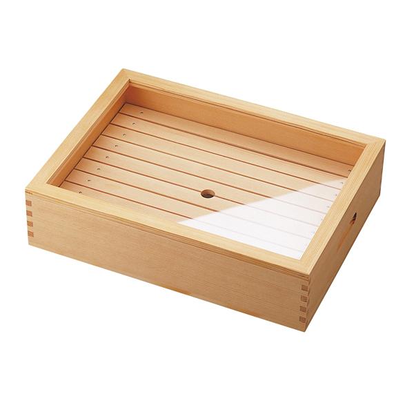 木製 ネタ箱(目皿・アクリル蓋付) 小 【厨房館】