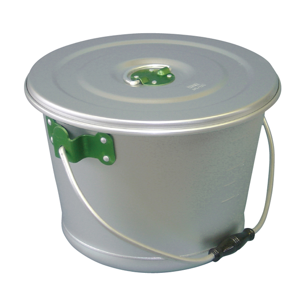 アルマイト色別食缶 硫酸シルバー 10l(緑) 【厨房館】