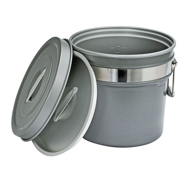 段付二重食缶(内外超硬質ハードコート アルマイト仕上) 245-H 【厨房館】