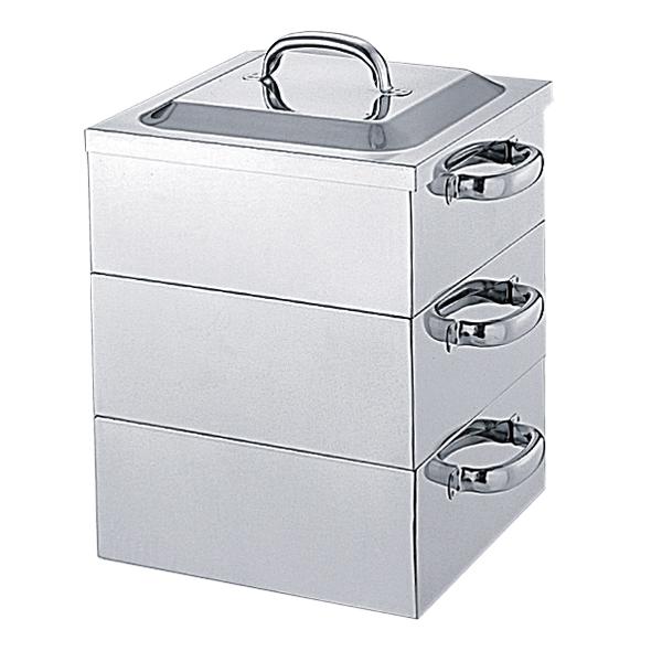 kisi-12-0157-0902 おしゃれ 18-8 業務用 角蒸器 3段 39cm 厨房館 全国どこでも送料無料