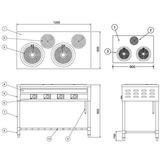 【 業務用 】押切電機 電気テーブルレンジ OKR-100A 900×600×850【 メーカー直送/後払い決済不可 】