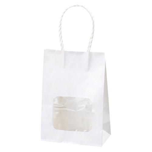 【まとめ買い10個セット品】 ウインドウミニバッグ 白 100枚【店舗備品 包装紙 ラッピング 袋 ディスプレー店舗】【厨房館】