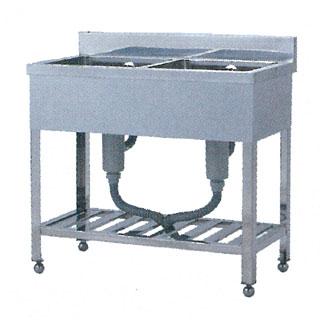 【 業務用 】業務用シンク 二槽シンク W型 W-1245 1200×450×800 【 メーカー直送/代引不可 】