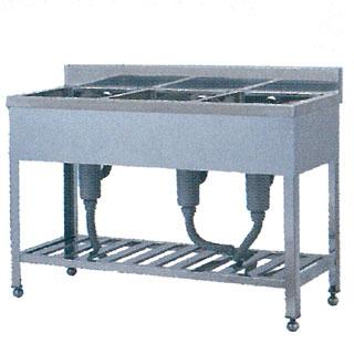 【 業務用 】業務用ステンレス製三槽シンク WS型 WS-1260 1200×600×800 【 メーカー直送/代引不可 】