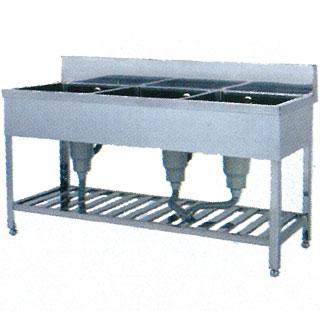 【 業務用 】業務用ステンレス製三槽シンク WSZ型 WSZ-1260 1200×600×800 【 メーカー直送/代引不可 】