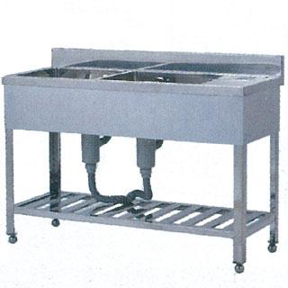 【 業務用 】業務用ステンレス製二槽水切付シンク WT型 WT-1555 1500×550×800 【 メーカー直送/代引不可 】