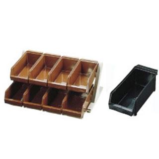 【 業務用 】SA18-8デラックス オーガナイザー 2段4列[8ヶ入] ブラック 【 ステンレスカトラリーボックス 】