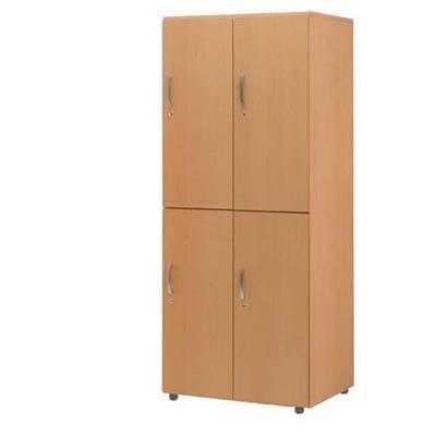 木製フリージョイントロッカー (ナチュラル) 2段4人用【厨房館】<br>【メーカー直送/代引不可】