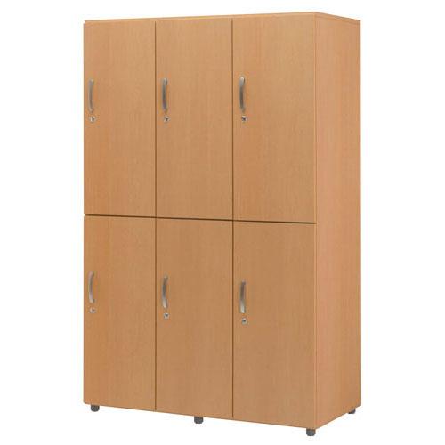 木製フリージョイントロッカー (ナチュラル) 2段6人用【厨房館】<br>【メーカー直送/代引不可】