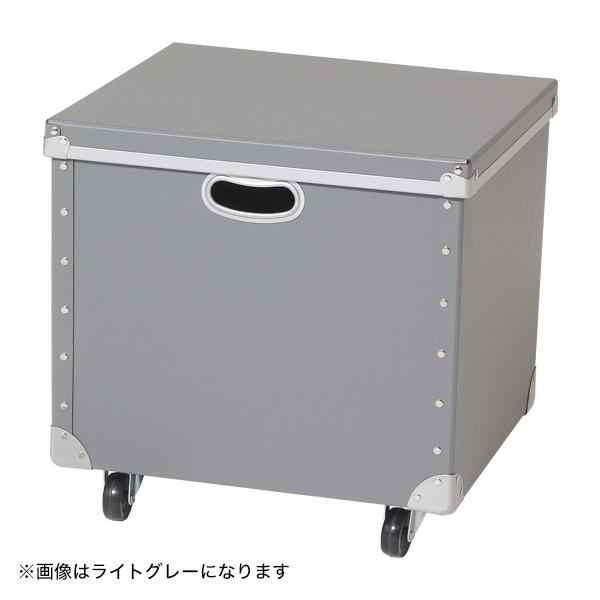 キャスター付ファイバーボックス(フタ付) ネイビー 【厨房館】