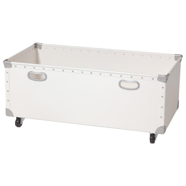 キャスター付ファイバーボックス フチ強化タイプ(W830)ペイントホワイト 【厨房館】