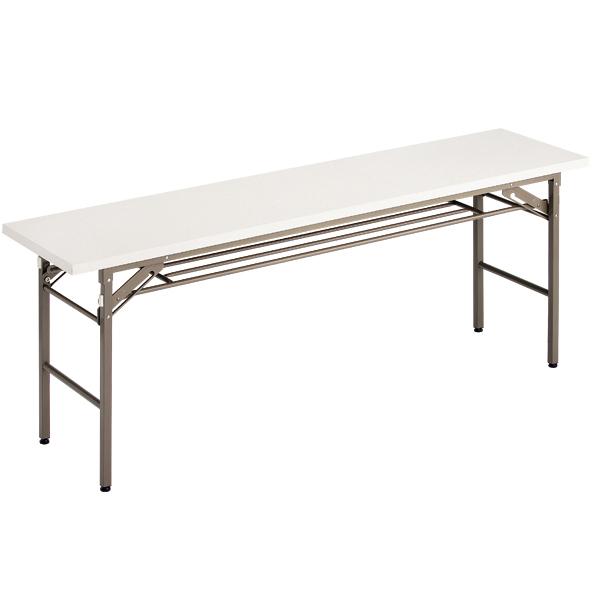 折りたたみテーブル (W1800/D450) 白 (棚付) 【厨房館】