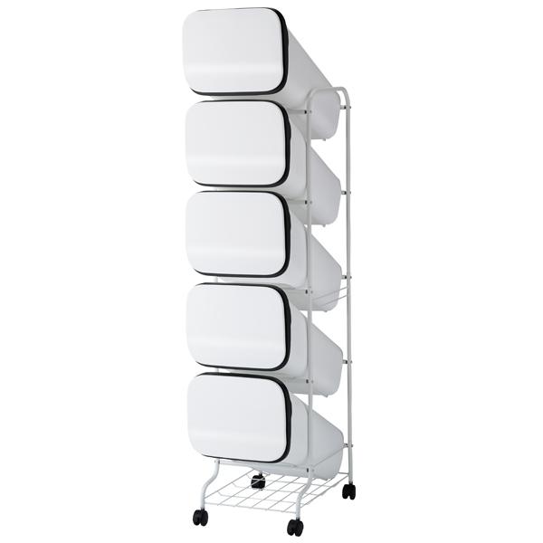 スムース 分別ごみ箱 5段 ダストボックス 100L ホワイト GBBH005【厨房館】