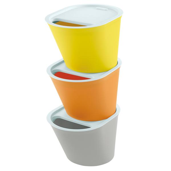ごみ箱 ソリーゾ ダストボックス ドゥエ 3色セット(オレンジ・イエロー・グレー) D1501【厨房館】