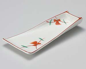 【まとめ買い10個セット品】和食器 ア011-087 赤絵竹型向付【キャンセル/返品不可】【厨房館】