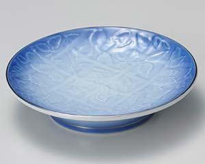 【まとめ買い10個セット品】和食器 タ011-147 ブルー吹彫刻天皿【キャンセル/返品不可】【厨房館】