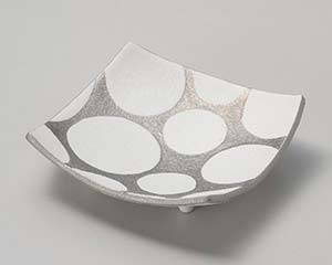 【まとめ買い10個セット品】和食器 タ025-047 銀彩水玉四方皿【キャンセル/返品不可】【厨房館】