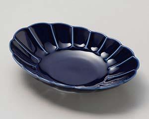 【まとめ買い10個セット品】和食器 ト028-177 ルリ釉 菊彫楕円皿【キャンセル/返品不可】【厨房館】