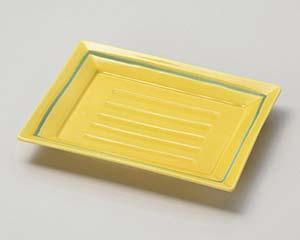 【まとめ買い10個セット品】和食器 ア028-217 黄釉角中皿【キャンセル/返品不可】【厨房館】