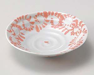 和食器 ア032-256 手造り唐草赤平鉢