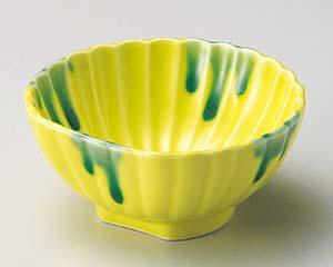 【まとめ買い10個セット品】和食器 ア053-276 黄釉グリーン流半月菊型小鉢 【キャンセル/返品不可】【厨房館】