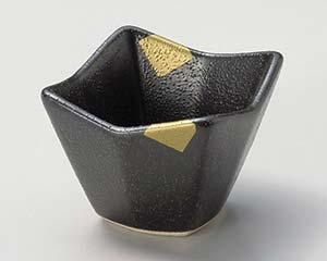 和食器 ウ073-146 黒ガラス金彩 四つ山小付