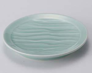 【まとめ買い10個セット品】和食器 ツ114-207 深海青磁波彫6.3皿【キャンセル/返品不可】【厨房館】