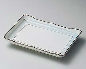 和食器 ヨ141-076 淡彩ライン7.0長角皿