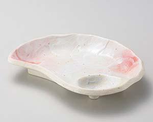 【まとめ買い10個セット品】和食器 タ146-037 桜志野貝型仕切皿【キャンセル/返品不可】【厨房館】