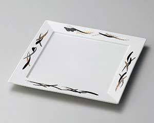 【まとめ買い10個セット品】和食器 ト181-147 金銀 黒彩正角8寸皿【キャンセル/返品不可】【厨房館】