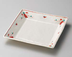 【まとめ買い10個セット品】和食器 ユ183-057 赤絵花正角皿 【キャンセル/返品不可】【厨房館】