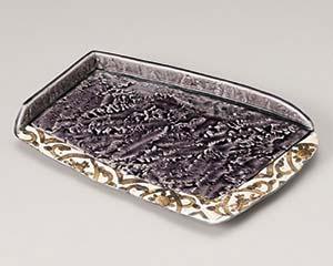【まとめ買い10個セット品】和食器 オ194-047 紫釉岩肌ペルシャ紋前菜皿【キャンセル/返品不可】【厨房館】