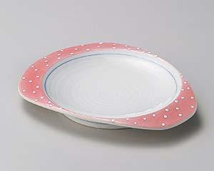 【まとめ買い10個セット品】和食器 ミ197-137 ピンク吹白ドットたわみ皿【キャンセル/返品不可】【厨房館】