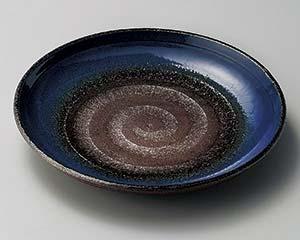 【まとめ買い10個セット品】和食器 ホ202-117 青釉吹8.0皿【キャンセル/返品不可】【厨房館】